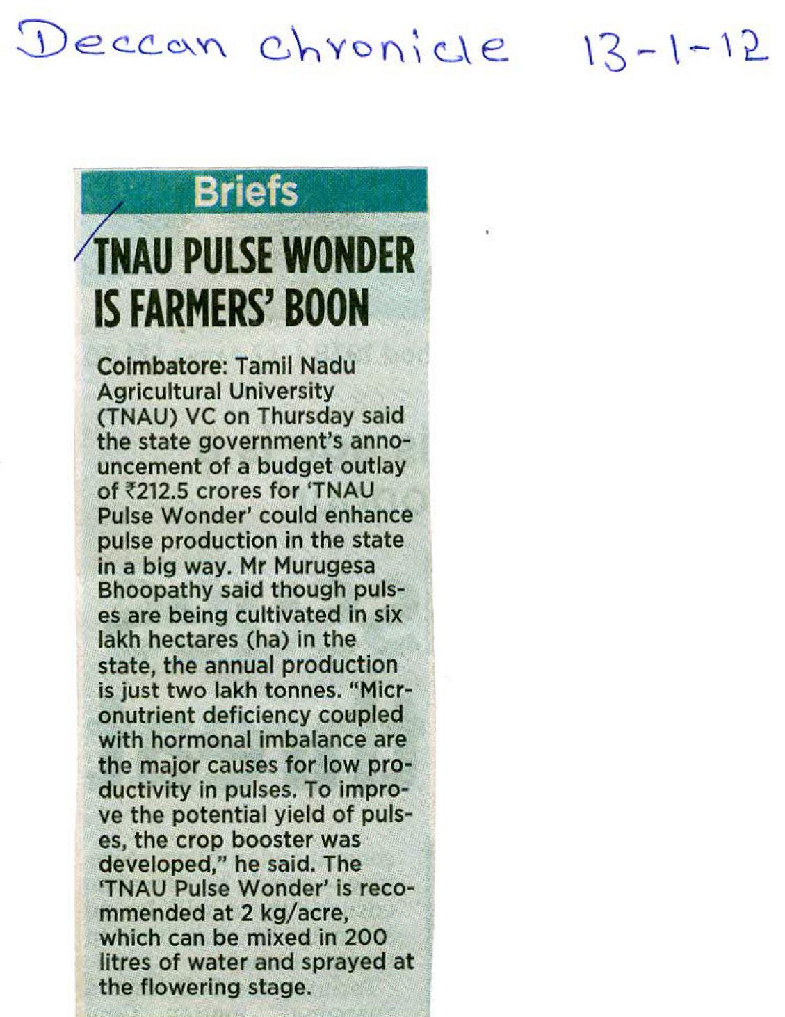 TNAU Agritech Portal :: Daily News Paper Information (Farm ... Daily Paper